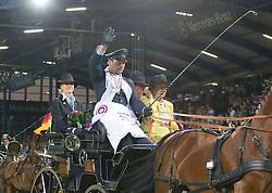 Brauchle Michael, (GER), Carola 83, Clinton, Eldiva, Jamaika<br /> Driving competition Prizegiving<br /> European Championships - Aachen 2015<br /> © Hippo Foto - Dirk Caremans<br /> 22/08/15