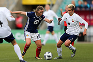 Erin Cuthbert (#22) of Scotland controls the ball before shooting to score Scotland's second goal (2-1) during the FIFA Women's World Cup UEFA Qualifier match between Scotland Women and Belarus Women at Falkirk Stadium, Falkirk, Scotland on 7 June 2018. Picture by Craig Doyle.