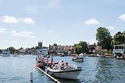 Henley-on-Thames. United Kingdom.  2017 Henley Royal Regatta, Henley Reach, River Thames. <br /> Picnic boats, moored on the booms<br /> <br /> 13:31:24  Sunday  02/07/2017   <br /> <br /> [Mandatory Credit. Peter SPURRIER/Intersport Images.