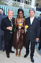 Left to right, TERRY O'NEILL, actress JUNE SAPONG and ALAN EDWARDS head of the Outside organisation at a party hosted by Andrew neil and The Business Newspaper held at The Ritz, Piccadilly, London on 12th July 2005.<br /><br />NON EXCLUSIVE - WORLD RIGHTS