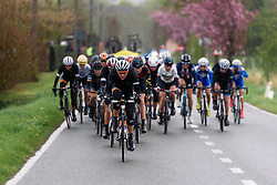 Thalita de Jong (Rabo Liv) comes to the front as the rain begins to pour again at Dwars door de Westhoek 2016. A 127km road race starting and finishing in Boezinge, Belgium on 24th April 2016.