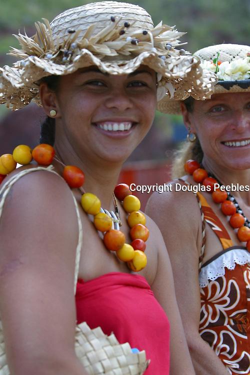 Polynesian with lei, Hakahau, Ua Pou, Marquesas, French Polynesia, (editorial use only, no model release)<br />