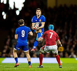 Tommaso Allan of Italy claims the highball<br /> <br /> Photographer Simon King/Replay Images<br /> <br /> Six Nations Round 1 - Wales v Italy - Saturday 1st February 2020 - Principality Stadium - Cardiff<br /> <br /> World Copyright © Replay Images . All rights reserved. info@replayimages.co.uk - http://replayimages.co.uk