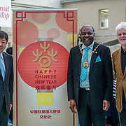 London,England,UK. 28th January 2017: Xiang Xiaowei,Councillor Olu Babatola and Dr Kevin Fewster attends the spectacle puppets show an hour and a hlaf long for the Chinese New Year: Guangzhou Art Troupe at National Maritime Museum,London,UK. by See Li