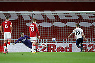1-1, GOAL scored by James Collins of Luton Town during the EFL Sky Bet Championship match between Middlesbrough and Luton Town at the Riverside Stadium, Middlesbrough, England on 16 December 2020.