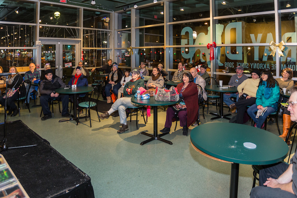 Musical performance in Stray Dog Cafe in the Akron-Summit County Public Library at First Night Akron 2017.