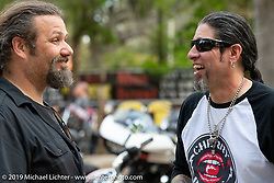 Chris Callen and Xavier Muriel at Warren Lane's True Grit Antique Gathering bike show at the Broken Spoke Saloon in Ormond Beach during Daytona Beach Bike Week, FL. USA. Sunday, March 10, 2019. Photography ©2019 Michael Lichter.
