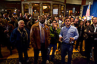 HARTFORD, CT - 02 NOVEMBER 2010 -.Democratic supporters gather in front of a television to watch poll results at the Society Room in Hartford on Tuesday night..Photo by Josalee Thrift