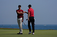 Thomas Detry (BEL) fist pumps Ross Fisher (ENG) on getting a birdie on the 9th during Round 3 of the Oman Open 2020 at the Al Mouj Golf Club, Muscat, Oman . 29/02/2020<br /> Picture: Golffile   Thos Caffrey<br /> <br /> <br /> All photo usage must carry mandatory copyright credit (© Golffile   Thos Caffrey)