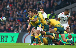 November 24, 2018 - London, England, United Kingdom - London, UK, 24 November, 2018.Australia's Will Genia making his 100 cap.during Quilter International between England  and Australia at Twickenham stadium , London, England on 24 Nov 2018. (Credit Image: © Action Foto Sport/NurPhoto via ZUMA Press)