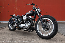 Custom 1974 Ironhead XLH Sportster by Sureshot's Taku (Takuya) Aikawa first shown at Mooneyes in 2010. Photographed at the port in Chiba, Japan. Sunday, December 9, 2018. Photography ©2018 Michael Lichter.