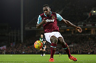 Michail Antonio of West Ham United in action. Barclays Premier league match, West Ham Utd v Stoke city at the Boleyn Ground, Upton Park  in London on Saturday 12th December 2015.<br /> pic by John Patrick Fletcher, Andrew Orchard sports photography.