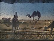 Detail of the curtain representing Bactrian camels in the Taklamakan desert. Turfan station. In the train from Hong Kong to Urumqi, Xinjiang.