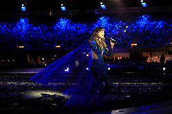 Delta Goodrem performs during the Opening Ceremony for the 2018 Commonwealth Games at the Carrara Stadium in the Gold Coast, Australia.