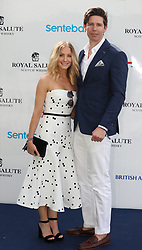 Joanne Froggatt and her husband James Cannon arrive at the Sentebale Royal Salute Polo Cup at the Singapore Polo Club.