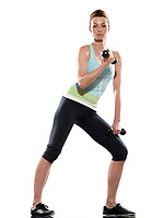 woman doing biceps workout on white isolated background