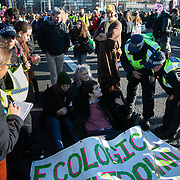 Thousands of Extinction Rebellion activists took over 5 bridges in Central London and blocked them for the day, November 17 2018, Central London, United Kingdom. Lambeth Bridge; police try to convince a young activist to get up and not get arrested.  Around 11am people on all bridges sat down in the road and blocked traffic from coming through and stayed till late afternoon. The actvists believe that the government is not doing enough to avoid catastrophic climate change and they demand the government take radical action to save future generations and the planet. Many are willing to be arrested peacefully protesting and up to 80 were arrested on the day. Extinction Rebellion is a grass root climate change group started in 2018 and has gained a huge following of people commited to peaceful protests and who ready to be arrested. Their major concern is that the world is facing catastropohic climate change and they want the British government to act now to save future generations.