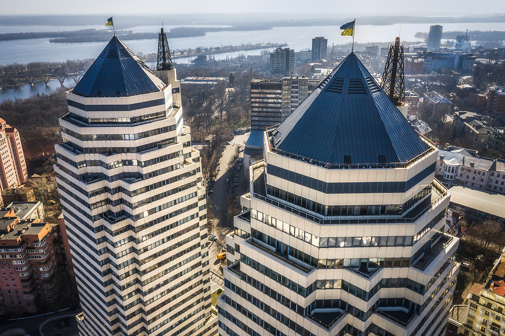 Aeiral view of Dnipro City in Ukrain