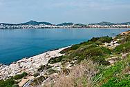 The beach town of Vouliagmeni, is a popular tourist destination near Athens, Greece.