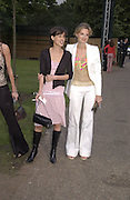 Jemima Khan and Tracey Brower. . Serpentine Gallery Summer party in a glass and steel pavilion designed by Toyo Ito and Arup. . tuesday 9 July 2002. © Copyright Photograph by Dafydd Jones 66 Stockwell Park Rd. London SW9 0DA Tel 020 7733 0108 www.dafjones.com
