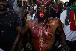 September 4, 2017 - Brooklyn, New York, United States - Marchers of J'Ouvert parade walk down Flatbush Ave. in Brooklyn, NY. Thousands of people participate in this street party to kick off the Caribbean festival in Brooklyn, New York. (Credit Image: © Go Nakamura via ZUMA Wire)