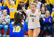 Borgia's Paige Lynn celebrates a point in the first set of a quarterfinal volleyball match on Saturday, Oct. 27, 2018, at Visitation Academy in Town & Country, Mo.  Gordon Radford   Special to STLhighschoolsports.com