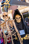 People dressed as skeletons during the Day of the Dead Festival known in spanish as Día de Muertos on October 25, 2014 in Oaxaca, Mexico.