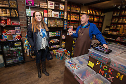 © Licensed to London News Pictures . 20/11/2014 . Kent , UK . Conservative candidate Kelly Tolhurst (l) inside Sweet Expectations sweet shop , talking to the shop owner . The Sweet Expectations unofficial poll has Tolhurst predicted to come 2nd . The Rochester and Strood by-election campaign following the defection of sitting MP Mark Reckless from Conservative to UKIP . Photo credit : Joel Goodman/LNP