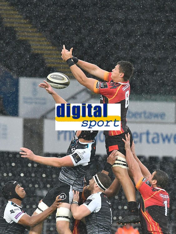 Rugby Union - 2019 / 2020 Guinness Pro14 - Ospreys vs. Southern Kings<br /> <br /> Elrigh Louw of Southern Kings & Olly Cracknell of Ospreys leap to catch the ball at a lineout, at The Liberty Stadium.<br /> <br /> COLORSPORT/WINSTON BYNORTH