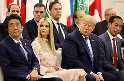 """Shinzo Abe (Japanese Prime Minister), Ivanka Trump (Advisor to the President of the United States), Donald J. Trump (US President), Joko Widodo (Indonesia's President) - Side event organized by the Japanese Prime Minister, on the theme """"Promoting the place of women at work"""" at the Intex Osaka congress center at the G20 summit in Osaka, Japan, on June 29, 2019. Photo by Dominque Jacovides/Pool/ABACAPRESS.COM"""