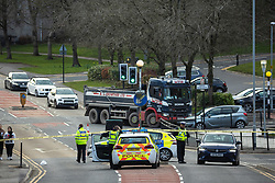 © Licensed to London News Pictures . 24/03/2021. Oldham , UK . Traffic is turned back on Saddleworth Road . An accident at the junction Saddleworth Road and Stamford Road in Oldham has taken place after a Range Rover and a bicycle were in collision this afternoon (Wednesday 24th March 2021) . An air ambulance landed at a nearby school . Saddleworth Road and many surrounding routes are closed off to all traffic . Photo credit : Joel Goodman/LNP