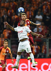 ISTANBUL, Sept. 19, 2018 Jefferson Farfan (Front) of Lokomotiv Moscow vies with Serdar Aziz of Galatasaray during the 2018-2019 UEFA Champions League Group D match between Turkey's Galatasaray and Russia's Lokomotiv Moscow in Istanbul, Turkey, on Sept. 18, 2018. Galatasaray won 3-0. (Credit Image: © He Canling/Xinhua via ZUMA Wire)