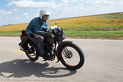 Victor Boocock turned 76 while riding his 1914 Harley-Davidson 10e on his 5th cross-country trip on the Motorcycle Cannonball coast to coast vintage run. Stage 7 (274 miles) from Cedar Rapids to Spirit Lake, IA. Friday September 14, 2018. Photography ©2018 Michael Lichter.