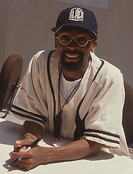 Film director Spike Lee celebrates the second anniversary of his studio and store in Brooklyn, NY, 25 July 1992.