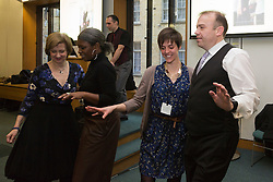 © Licensed to London News Pictures. 23/02/2015. London, England. Chris Heaton-Harris (right) dancing with members of Dance UK. MPs attend a dance class with members of Dance UK and Lindy Hop dancers. Dance UK launches the 2015 Dance Manifesto with a beginners' social dance class hosted by the All Party Parliamentary Dance Group for all MPs at Portcullis House and led by teacher Jenny Thomas, charleston choreographer for the BBC's Strictly Come Dancing with Strictly professional dancer Robin Windsor. Photo credit: Bettina Strenske/LNP