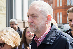 Clerkenwell Green, London, May 1st 2016. Labour Party leader Jeremy Corbyn arrives to address a rally prior to the annual May Day march to mark International Workers' Day. ©Paul Davey<br /> FOR LICENCING CONTACT: Paul Davey +44 (0) 7966 016 296 paul@pauldaveycreative.co.uk