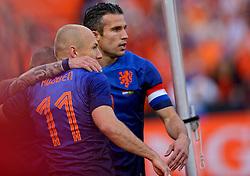 31-05-2014 NED: Vriendschappelijk Nederland - Ghana, Rotterdam<br /> Nederland wint met 1-0 van Ghana /  Robin van Persie scoort de 1-0 en Arjen Robben
