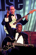 Blues legend B.B. King with his guitar Lucille perform for the first family at the taping of the PBS special Legends of the Blues: In Performance at the White House on the South Lawn of the White House July 28, 1999 in Washington, DC.