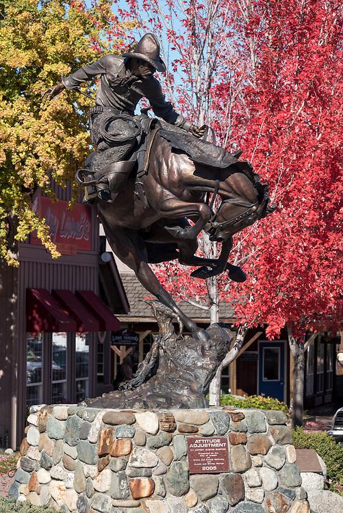 Attitude Adjustment sculpture, by Austin Barton, in downtown Joseph, Oregon.