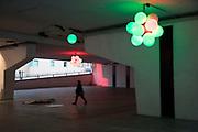 Light installation in the walkway underneath one of Birminghams Queensways near the Mailbox in Birmingham, United Kingdom.