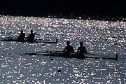 Silhouette of men's pairs rowing teams in action.