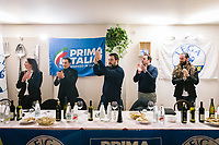 LUGO, ITALY - 5 JANUARY 2020: Matteo Salvini, former Interior Minister of Italy and leader of the far-right League party, claps his hands at his arrival at the League party dinner in Lugo, Italy, on January 5th 2020.<br /> <br /> Matteo Salvini is campaigning in the region of Emilia Romagna to support the League candidate Lucia Borgonzoni running for governor.<br /> <br /> After being ousted from government in September 2019, Matteo Salvini has made it a priority to campaign in all the Italian regions undergoing regional elections to demonstrate that, in power or not, he still commands considerable support.<br /> <br /> The January 26th regional elections in Emilia Romagna, traditionally the home of the Italian left, has been targeted by Matteo Salvini as a catalyst for bringing down the government. A loss for the center-left Democratic Party (PD) against Mr Salvini's right would strip the centre-left party of control of its symbolic heartland, and probably trigger a crisis in its coalition with the Five Star Movement.
