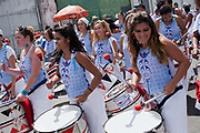 Percussion tambo band, Every second 2nd Thursday in February thousands of people attend the Lavagem do Bonfim - The washing of Bonfim at the Iglesia do Bonfim - Church of Bonfim in Salvador de Bahia,