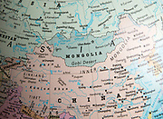 Far East Asia map on a globe focused on Mongolia and China