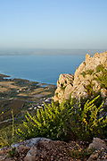 Overlooking lake Tiberias, Sea of Galilee, from mount Arbel, Israel
