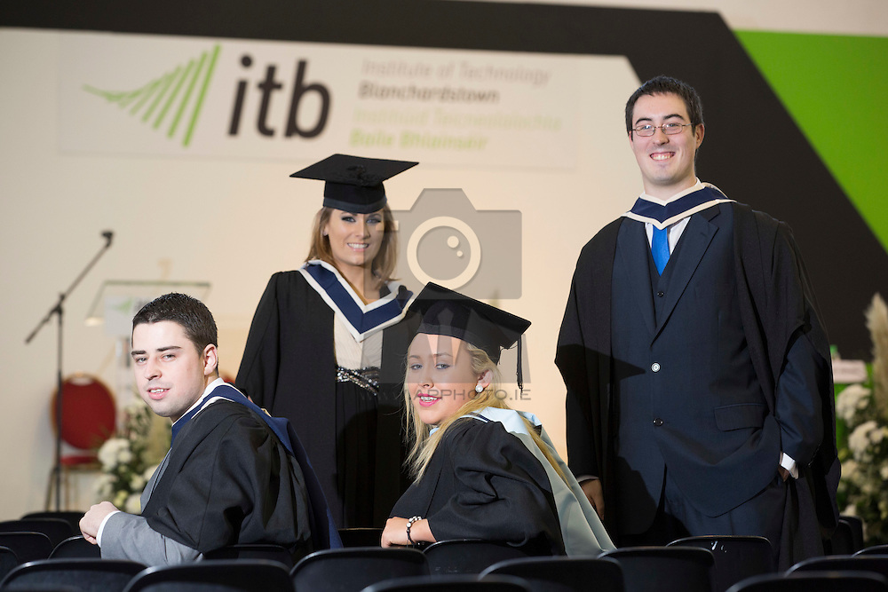 David Farrell from Castleknock, ciara Murray from Castleknock, Michael O'Hanloan from Hartstown and Karen Foley from Trim Co Meath pictured at the Institute of Technology Blanchardstown (ITB) 2013 conferring ceremony. 2013 sees the largest number of students being conferred with awards at ITB with over 800 people receiving awards in areas like Mechatronic Engineering, Horticulture, Accounting and Finance, Early Childhood Care and Education and Information Security and Digital Forensics to name but a few. Picture Andres Poveda