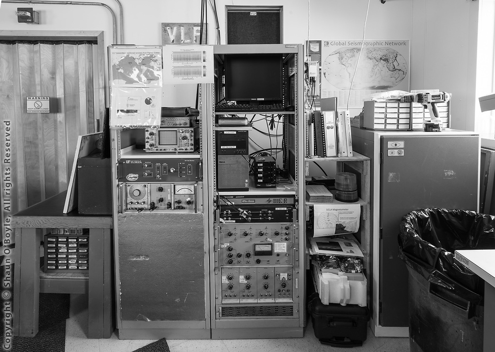 Instruments used to detact and record lightning strikes from up to 5000 kilometers away. The strikes can be played through a speaker and at times there were so many strikes happening in the southern hemisphere that it sounded like static.