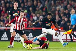 Fred of Manchester United is fouled Chris Basham of Sheffield United - Mandatory by-line: Robbie Stephenson/JMP - 24/11/2019 - FOOTBALL - Bramall Lane - Sheffield, England - Sheffield United v Manchester United - Premier League