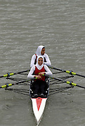 """Seville. SPAIN, 17.02.2007, [heat 2] EGY LW2X, stroke,  Mahmoud HASHEM OLA and Hassan MOUSFAFA HEBA, clear the """"Puente de la Barqueta"""" [bridge] during Saturdays heats, of the FISA Team Cup, held on the River Guadalquiver course. [Photo Peter Spurrier/Intersport Images]    [Mandatory Credit, Peter Spurier/ Intersport Images]. , Rowing Course: Rio Guadalquiver Rowing Course, Seville, SPAIN,"""