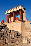 Arthur Evans reconstruction of  the Nouth Propylaeum Knossos Minoan archaeological site, Crete ..<br /> <br /> Visit our GREEK HISTORIC PLACES PHOTO COLLECTIONS for more photos to download or buy as wall art prints https://funkystock.photoshelter.com/gallery-collection/Pictures-Images-of-Greece-Photos-of-Greek-Historic-Landmark-Sites/C0000w6e8OkknEb8 <br /> .<br /> Visit our MINOAN ART PHOTO COLLECTIONS for more photos to download  as wall art prints https://funkystock.photoshelter.com/gallery-collection/Ancient-Minoans-Art-Artefacts-Antiquities-Historic-Places-Pictures-Images-of/C0000ricT2SU_M9w